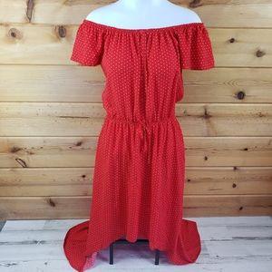 Hi-Lo off shoulder red polka dot summer dress